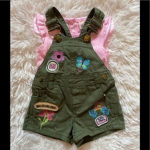 Green Embroidered Overalls Set 6m